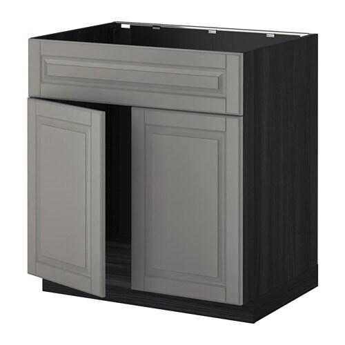 METOD Unterschr f Spüle+2 Türen/Front - Holzeffekt schwarz, Bodbyn ...