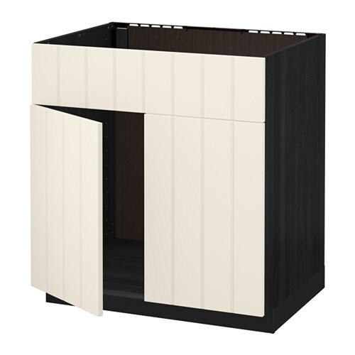 metod unterschr f sp le 2 t ren front holzeffekt schwarz hittarp elfenbeinwei ikea. Black Bedroom Furniture Sets. Home Design Ideas