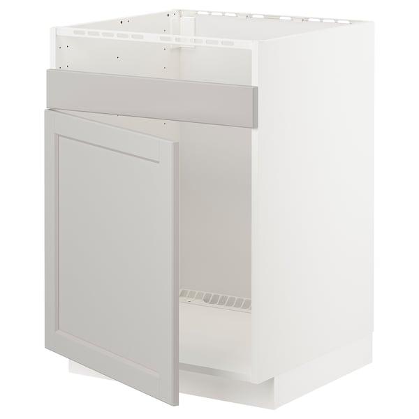 METOD Unterschrank f HAVSEN Spüle 1, weiß/Lerhyttan hellgrau, 60x60 cm