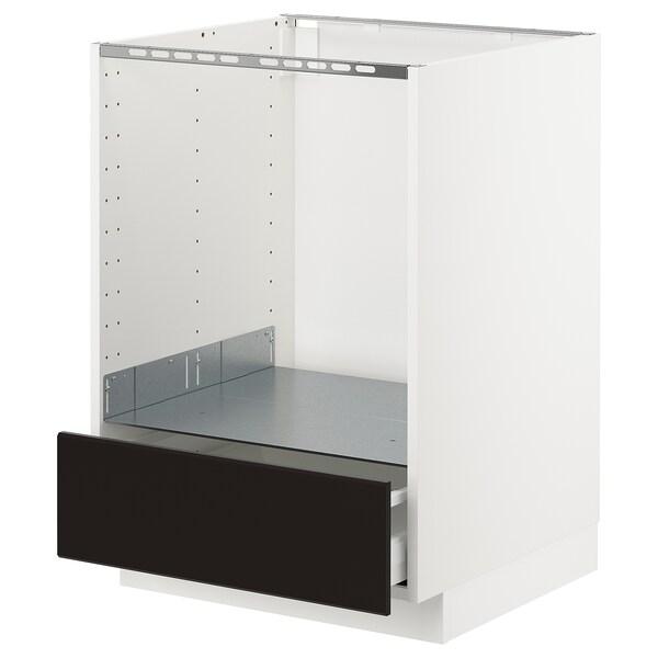 METOD Unterschrank für Ofen mit Schubl, weiß/Kungsbacka anthrazit, 60x60 cm