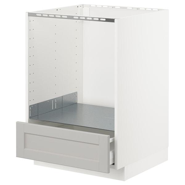 METOD Unterschrank für Ofen mit Schubl, weiß/Lerhyttan hellgrau, 60x60 cm