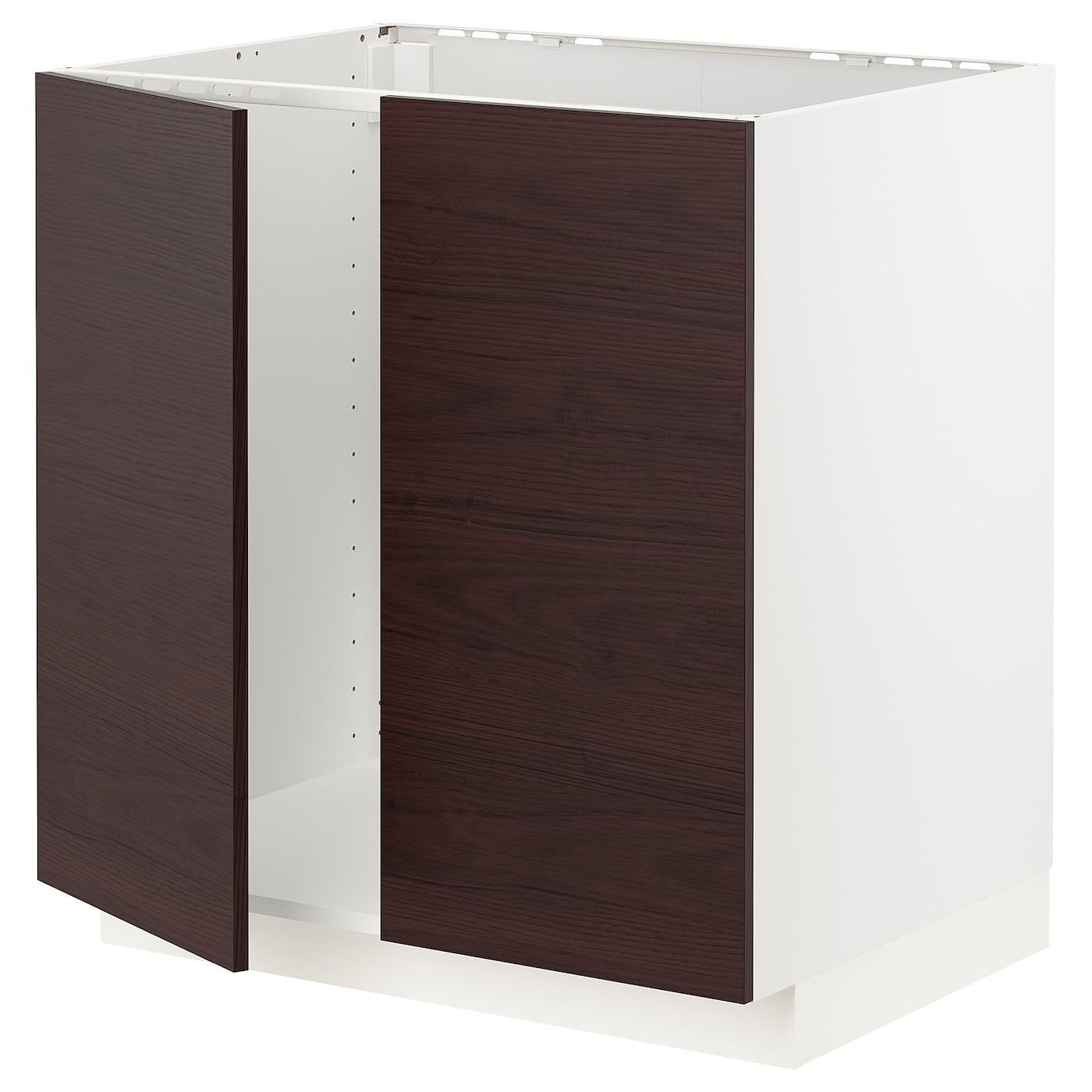 METOD Unterschrank für Spüle + 2 Türen - weiß Askersund ...