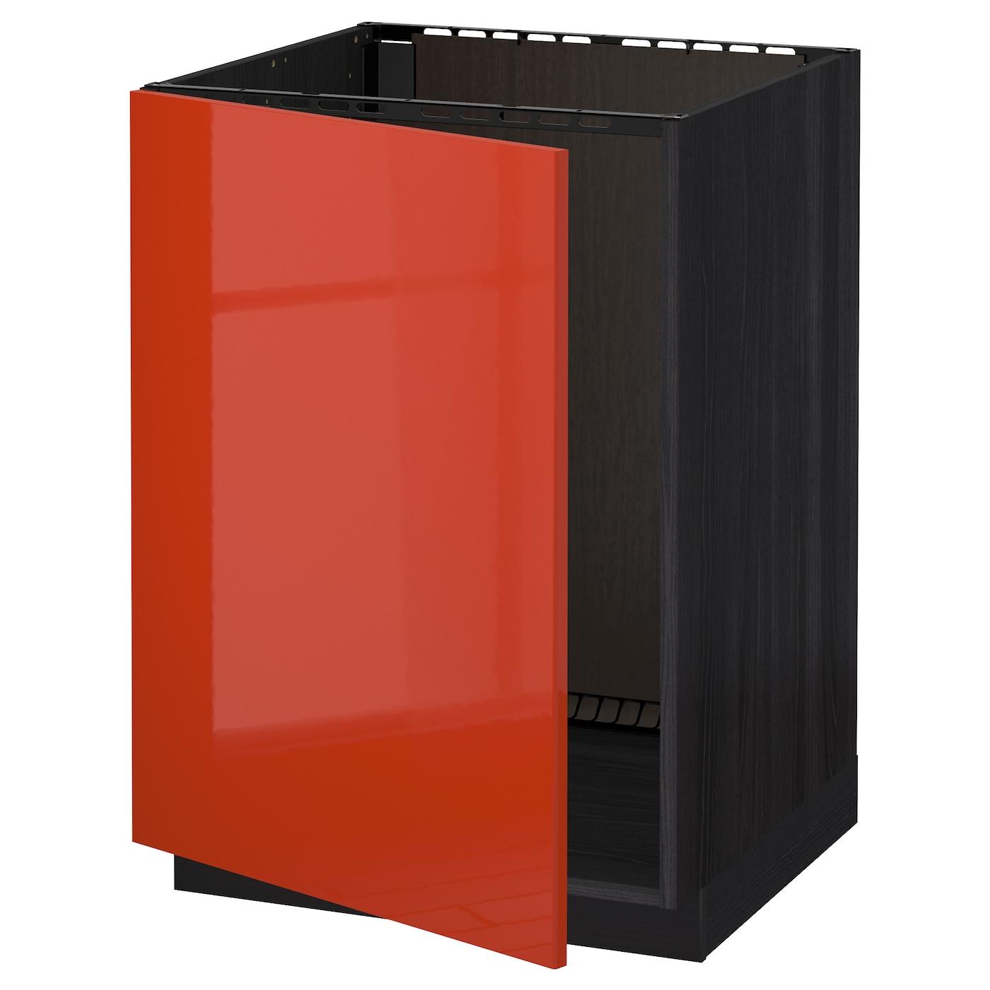 METOD, Unterschrank für Spüle, schwarz, orange 891.587.23