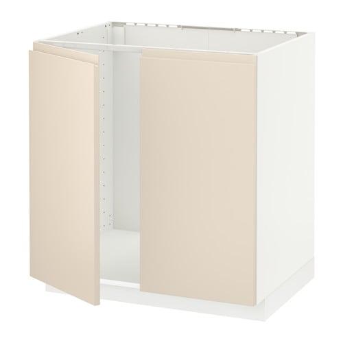 Ikea Detolf Glass Cabinet Review ~   Unterschrank für Spüle + 2 Türen  weiß, Voxtorp hellbeige  IKEA