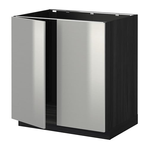 metod unterschrank f r sp le 2 t ren holzeffekt schwarz grevsta edelstahl ikea. Black Bedroom Furniture Sets. Home Design Ideas
