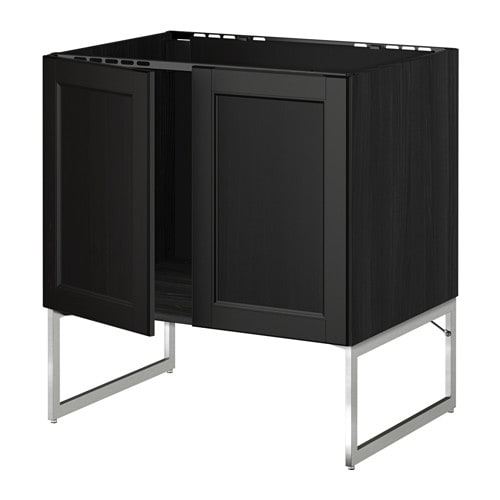 metod unterschrank f r sp le 2 t ren holzeffekt schwarz laxarby schwarzbraun ikea. Black Bedroom Furniture Sets. Home Design Ideas
