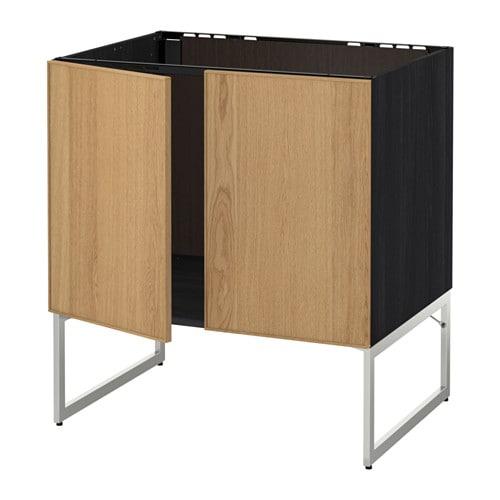 metod unterschrank f r sp le 2 t ren holzeffekt schwarz ekestad eiche ikea. Black Bedroom Furniture Sets. Home Design Ideas