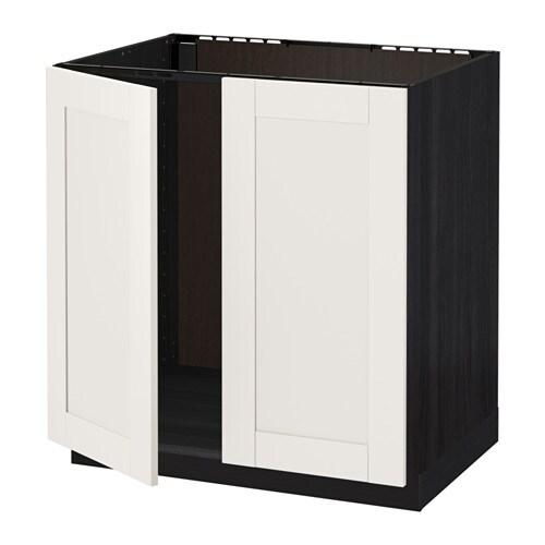metod unterschrank f r sp le 2 t ren holzeffekt schwarz s vedal wei 80x60 cm ikea. Black Bedroom Furniture Sets. Home Design Ideas