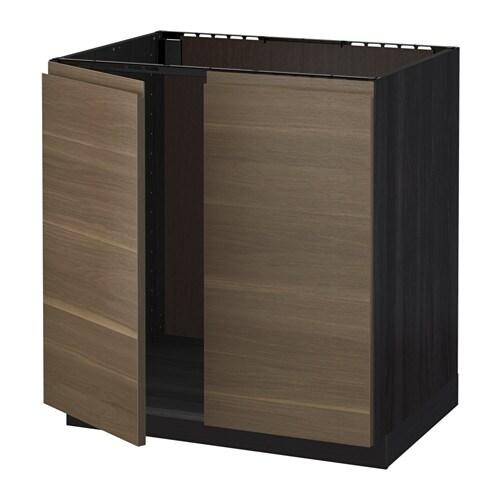 metod unterschrank f r sp le 2 t ren holzeffekt schwarz voxtorp nussbaumnachbildung ikea. Black Bedroom Furniture Sets. Home Design Ideas