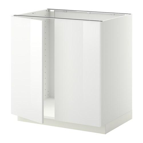METOD Unterschrank für Spüle + 2 Türen - weiß, Ringhult Hochglanz ...