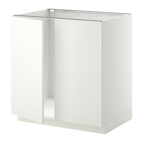 METOD Unterschrank für Spüle + 2 Türen - weiß, Häggeby weiß, 80x60 ...