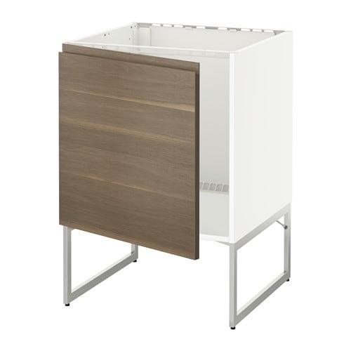 Ikea Detolf Glass Cabinet Review ~   Unterschrank für Spüle  weiß, Voxtorp Nussbaumnachbildung  IKEA