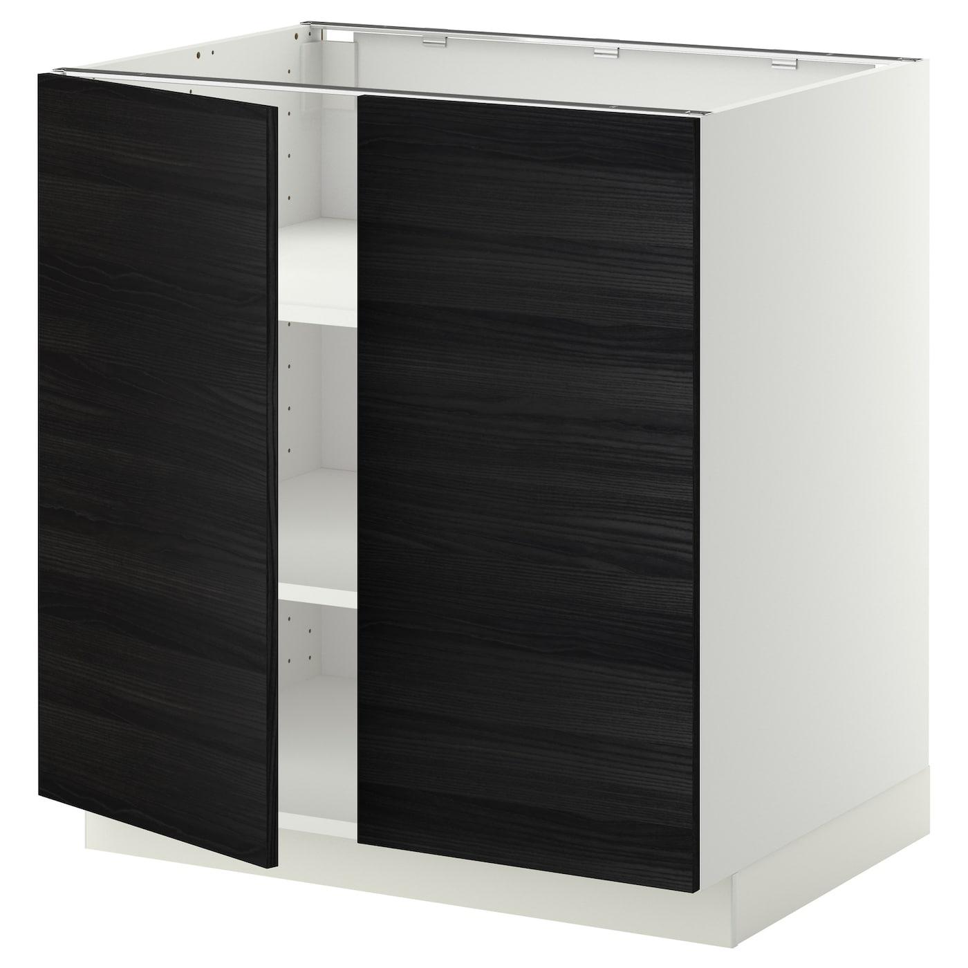 METOD, Unterschrank m Böden/2Türen, weiß, schwarz 599.120.73
