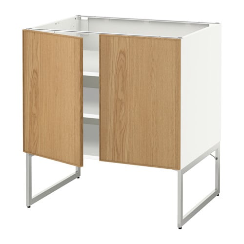 metod unterschrank m b den 2t ren wei ekestad eiche 80x60x60 cm ikea. Black Bedroom Furniture Sets. Home Design Ideas