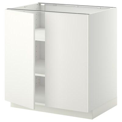 METOD Unterschrank m Böden/2Türen, weiß/Häggeby weiß, 80x60 cm