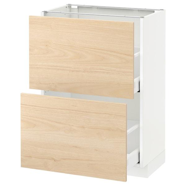 METOD Unterschrank mit 2 Schubladen, weiß/Askersund Eschenachbildung hell, 60x37 cm
