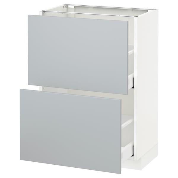 METOD Unterschrank mit 2 Schubladen, weiß/Veddinge grau, 60x37 cm