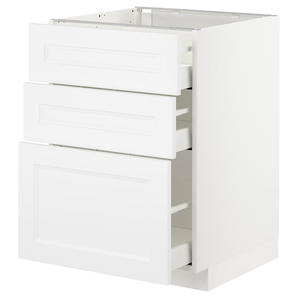 METOD Unterschrank mit 3 Schubladen, weiß/Axstad matt weiß, 60x60 cm