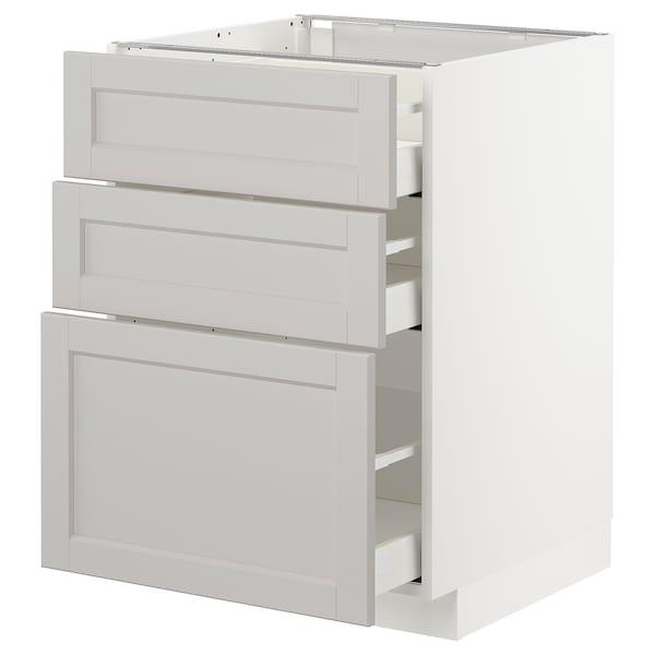 METOD Unterschrank mit 3 Schubladen, weiß/Lerhyttan hellgrau, 60x60 cm
