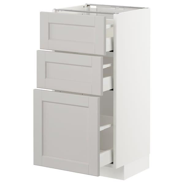 METOD Unterschrank mit 3 Schubladen, weiß/Lerhyttan hellgrau, 40x37 cm