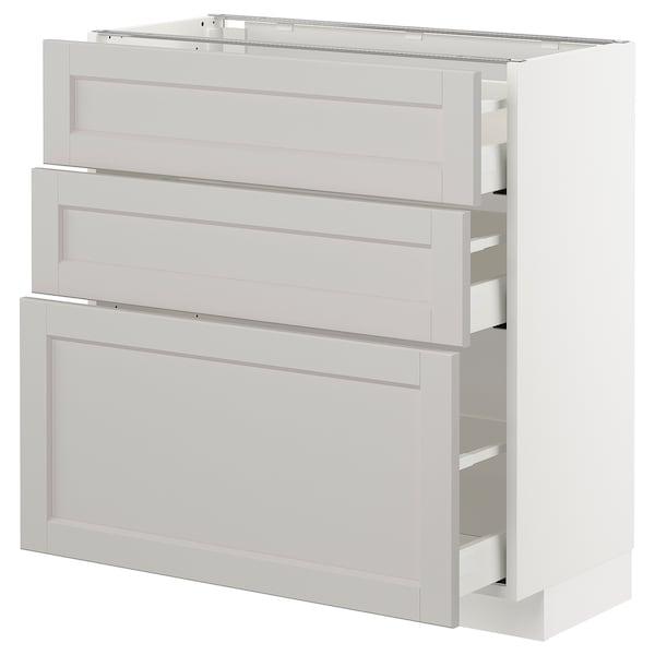 METOD Unterschrank mit 3 Schubladen, weiß/Lerhyttan hellgrau, 80x37 cm