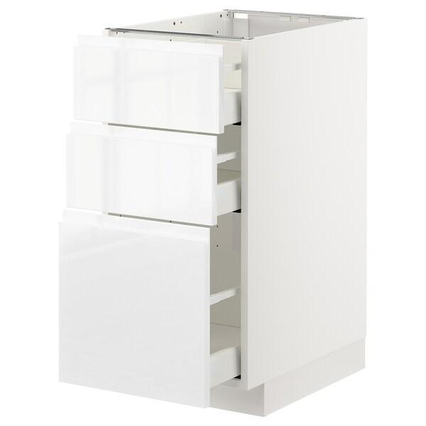 METOD Unterschrank mit 3 Schubladen, weiß/Voxtorp Hochglanz/weiß, 40x60 cm