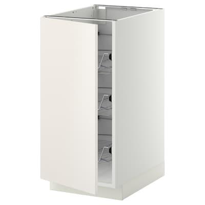 METOD Unterschrank mit Drahtkörben, weiß/Veddinge weiß, 40x60 cm