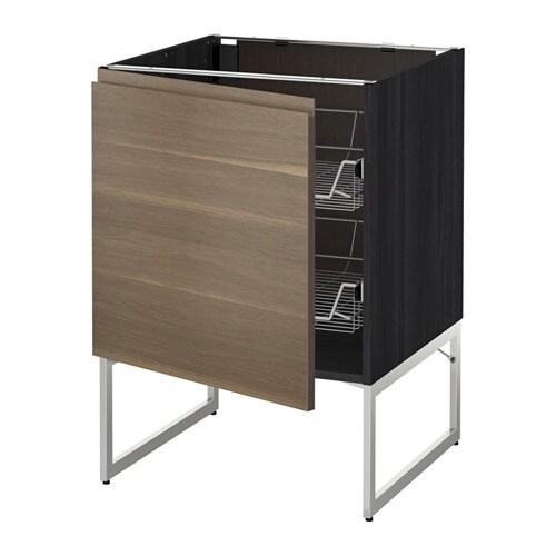 metod unterschrank mit drahtk rben holzeffekt schwarz voxtorp nussbaumnachbildung 60x60x60. Black Bedroom Furniture Sets. Home Design Ideas