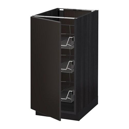 metod unterschrank mit drahtk rben holzeffekt schwarz. Black Bedroom Furniture Sets. Home Design Ideas