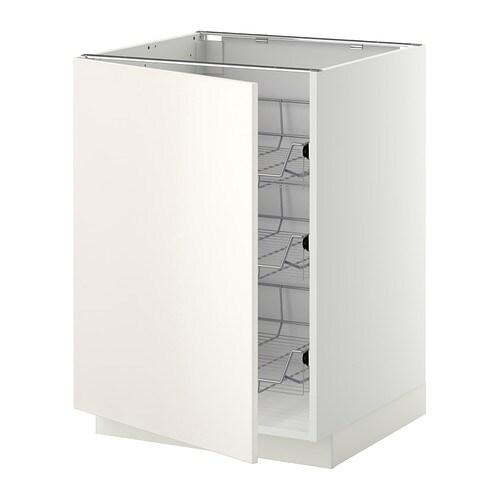 METOD Unterschrank mit Drahtkörben - weiß, Veddinge weiß, 60x60 cm ...