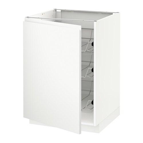 METOD Unterschrank mit Drahtkörben - weiß, Voxtorp matt weiß, 60x60 ...