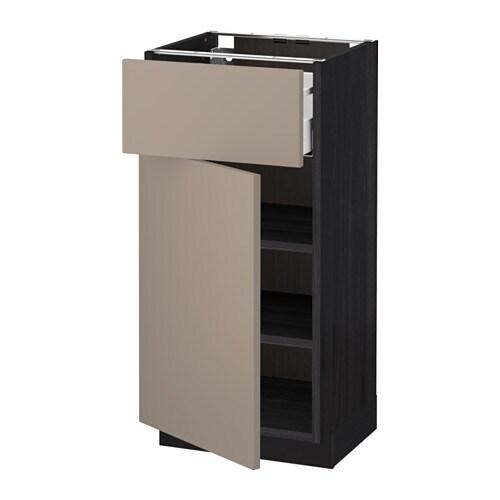 metod unterschrank mit schublade t r holzeffekt schwarz ubbalt dunkelbeige 40x37 cm ikea. Black Bedroom Furniture Sets. Home Design Ideas