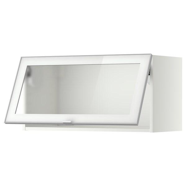 METOD Wandschrank horiz. m Vitrinentür weiß/Jutis Frostglas 80.0 cm 38.8 cm 40.0 cm