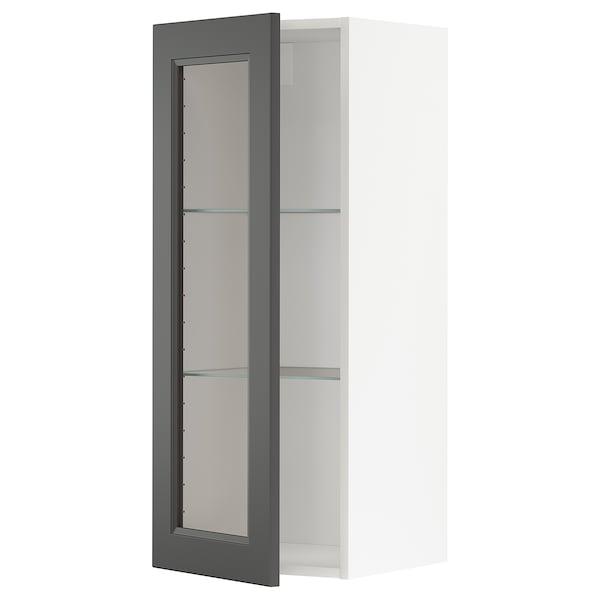 METOD Wandschrank mit Böden/Glastür  weiß/Axstad dunkelgrau 40.0 cm 38.9 cm 100.0 cm