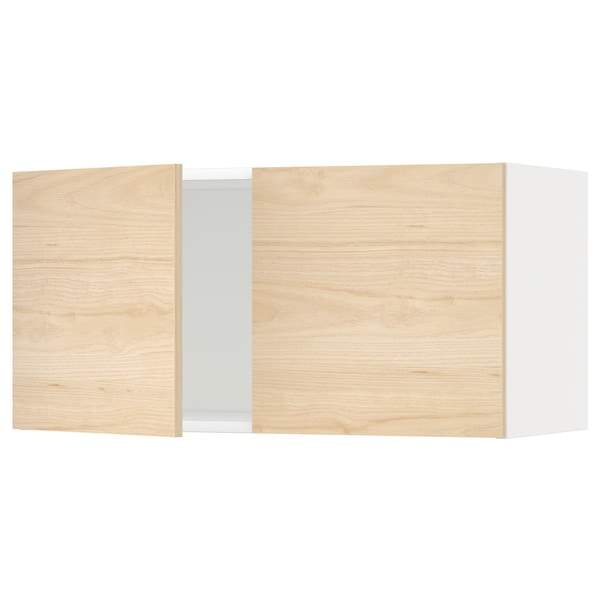 METOD Wandschrank mit 2 Türen weiß/Askersund Eschenachbildung hell 80.0 cm 38.6 cm 40.0 cm