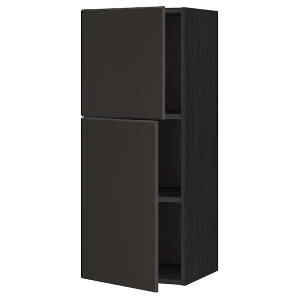 METOD Wandschrank mit Böden und 2 Türen schwarz/Kungsbacka anthrazit 40.0 cm 38.6 cm 100.0 cm