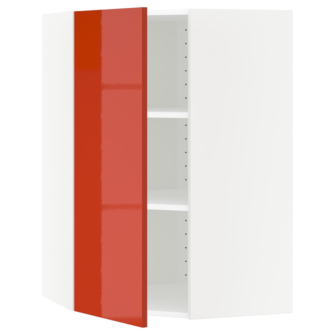 METOD, Wandeckschrank mit Böden, weiß, orange 591.587.86