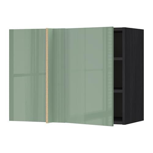 metod wandeckschrank mit b den holzeffekt schwarz kallarp hochglanz hellgr n 88x37x60 cm ikea. Black Bedroom Furniture Sets. Home Design Ideas