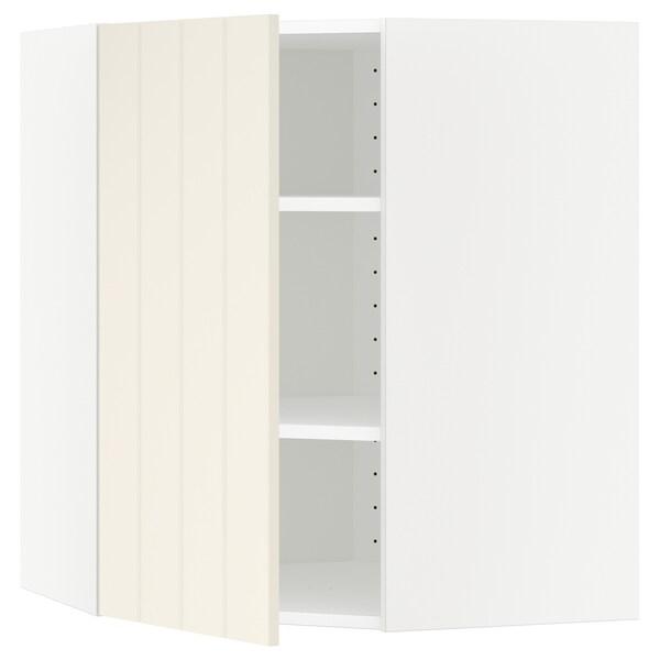 METOD Wandeckschrank mit Böden, weiß/Hittarp elfenbeinweiß, 68x80 cm