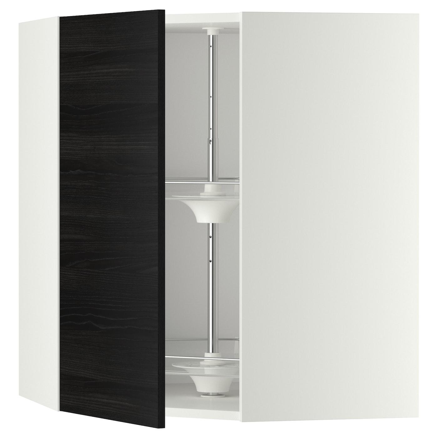 METOD, Wandeckschrank mit Karussell, weiß, schwarz 091.201.40
