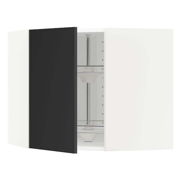 METOD Wandeckschrank mit Karussell, weiß/Uddevalla anthrazit, 68x60 cm