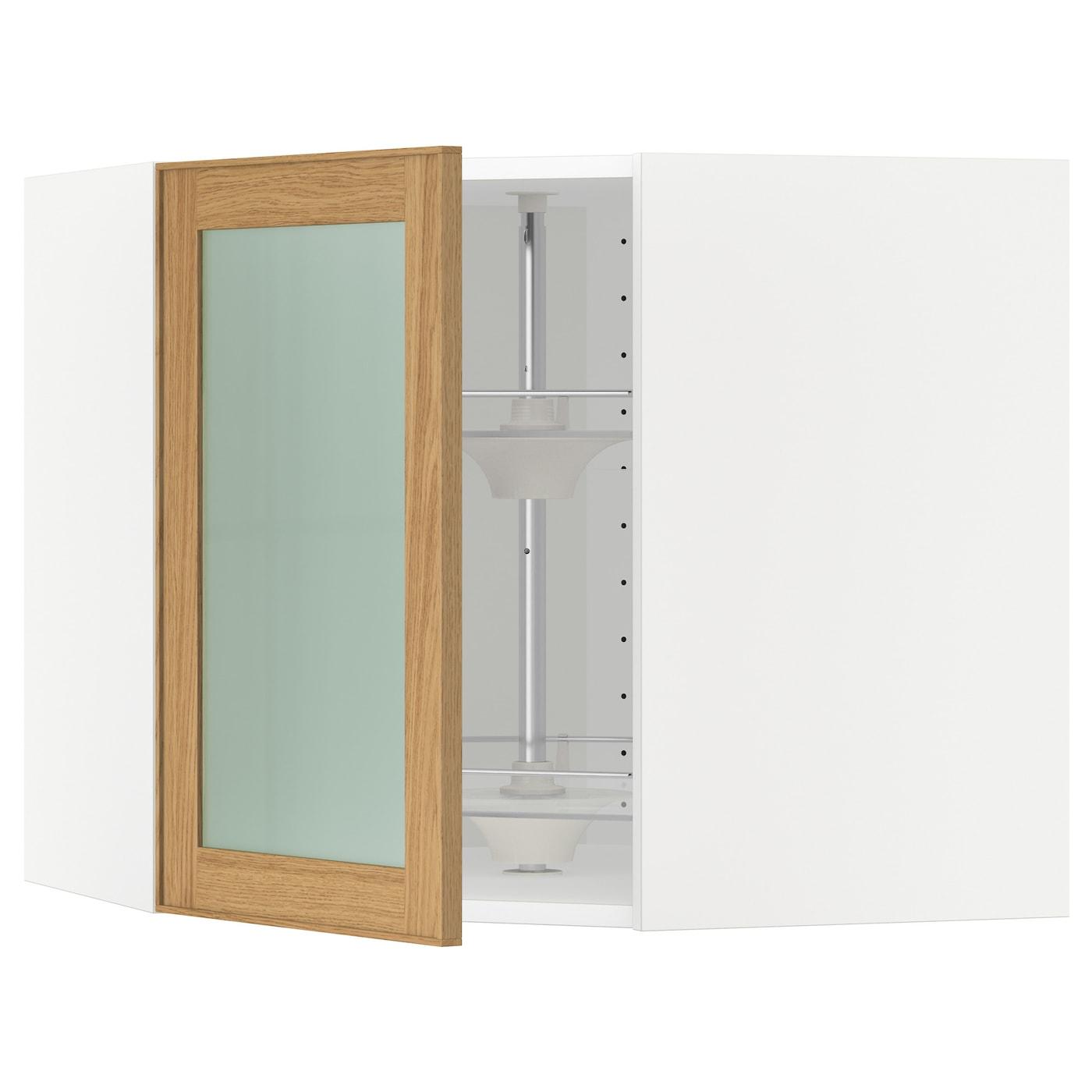 IKEA METOD Wandeckvitrine mit karussell weiß/Ekestad Eiche 68x60 cm | Wohnzimmer > Vitrinen > Eckvitrinen | IKEA