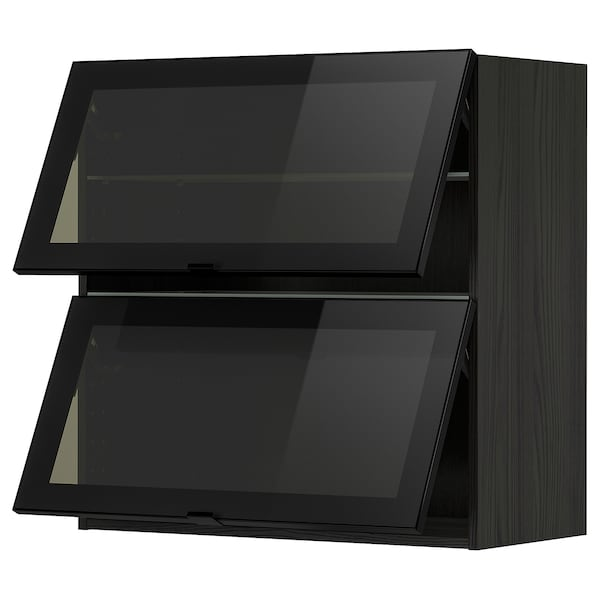 METOD Wandschr horiz. 2 Vitrtüren/Drucksy, schwarz/Jutis Rauchglas, 80x80 cm
