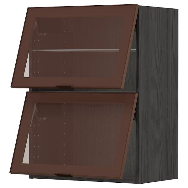 METOD Wandschr horiz. 2 Vitrtüren/Drucksy, schwarz/Skövde dunkel bronzefarben, 60x80 cm