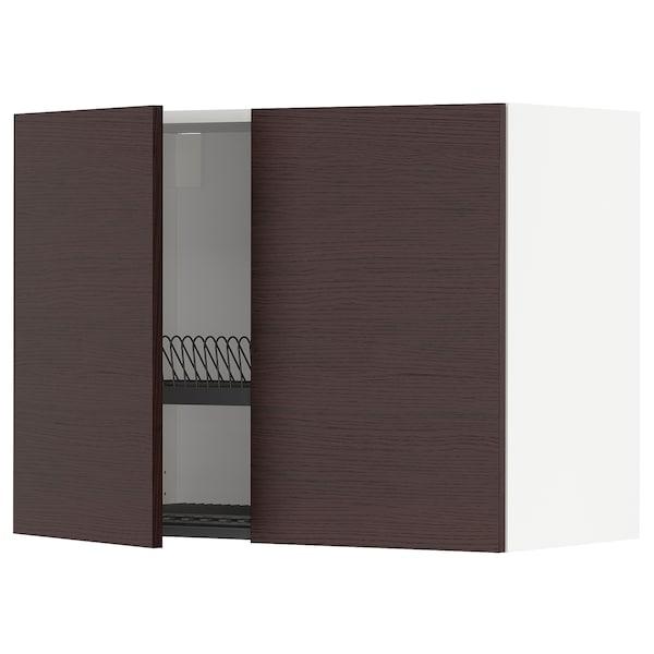 METOD Wandschrank/Abtropfgest./2 Türen, weiß Askersund/dunkelbraun Eschenachbildung, 80x60 cm