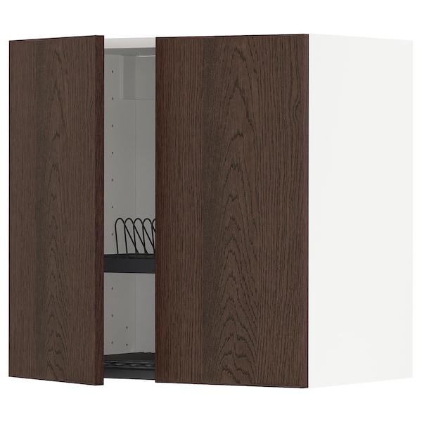 METOD Wandschrank/Abtropfgest./2 Türen, weiß/Sinarp braun, 60x60 cm