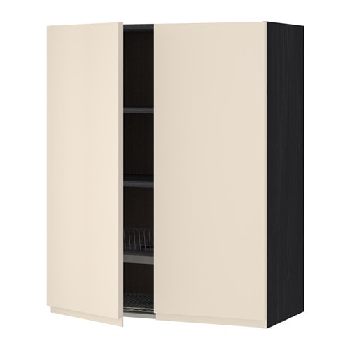 metod wandschrank abtropfgest 2 t ren holzeffekt schwarz voxtorp hellbeige 80x100 cm ikea. Black Bedroom Furniture Sets. Home Design Ideas