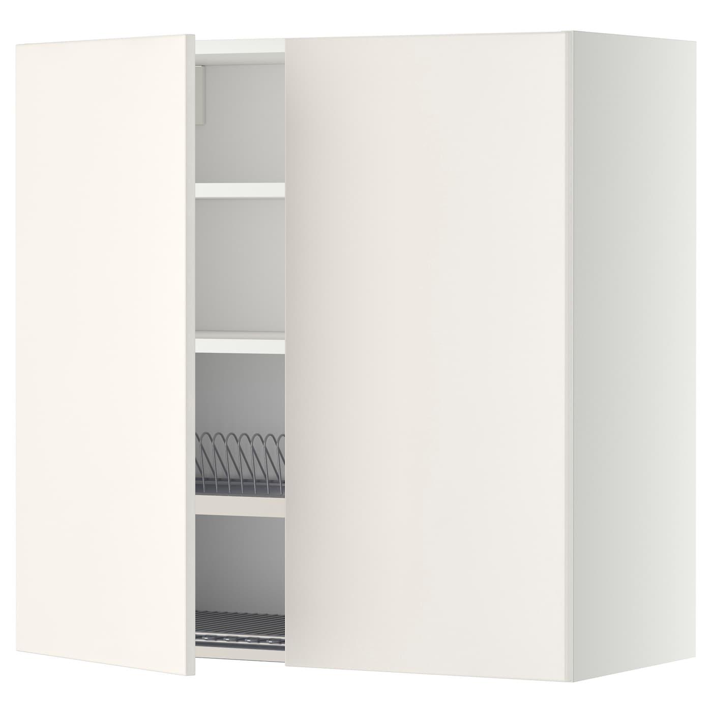 METOD Wandschrank mit Abtropfgestell - weiß, Veddinge weiß, 60x80 cm ...