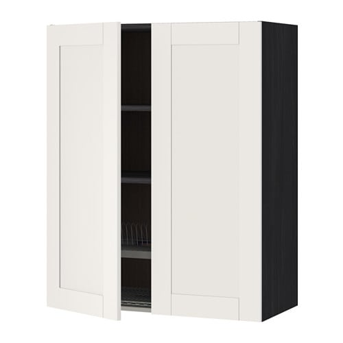 metod wandschrank abtropfgest 2 t ren holzeffekt schwarz s vedal wei 80x100 cm ikea. Black Bedroom Furniture Sets. Home Design Ideas