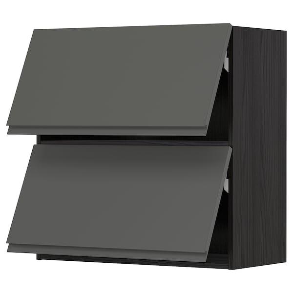 METOD Wandschrank horiz. m 2 Türen, schwarz/Voxtorp dunkelgrau, 80x80 cm